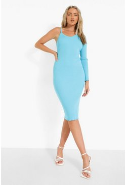 Blue One Shoulder Premium Rib Knitted Dress