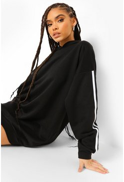 Black Side Stripe Hoodie Dress