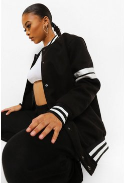 Black Sleeve Detail Varsity Bomber Jacket