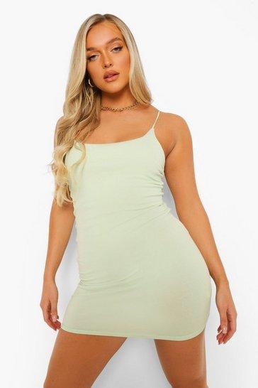 Lime green Elastic Strappy Bodycon Mini Dress