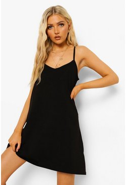 Black Strappy Low Back Swing Mini Dress