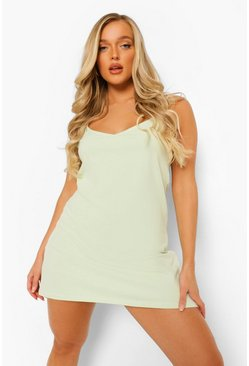 Lime green Strappy Low Back Swing Mini Dress