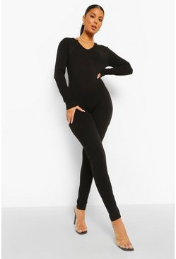 Black Seamless Long Sleeve Jumpsuit