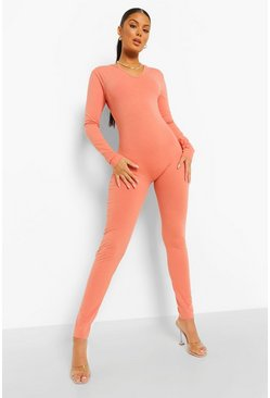 Caramel beige Seamless Long Sleeve Jumpsuit