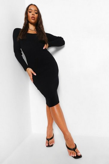 Black Square Neck Premium Rib Midi Dress
