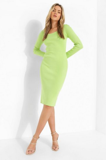 Lime green Square Neck Premium Rib Midi Dress