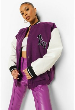 Purple Ofcl Varsity Bomber Jacket