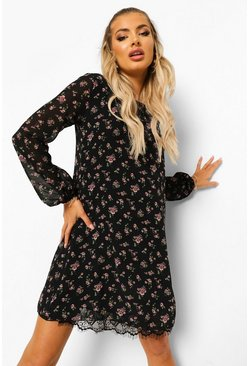 Black Floral Print Belted Shift Dress