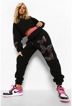 Black Butterfly Diamante Crop Tracksuit