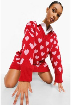 Red Heart Print Oversized Jumper Dress