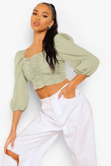 Sage green Green Cotton Ruched Front Square Neck Crop Top