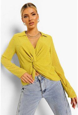 Yellow Dobby Mesh Plunge Knot Detail Blouse, Chartreuse gelb