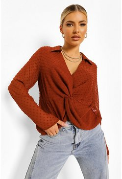 Rust orange Brown Dobby Mesh Plunge Knot Detail Blouse