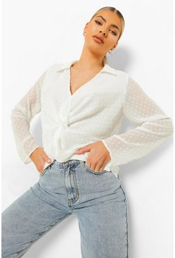 White Dobby Mesh Plunge Knot Detail Blouse, Weiß