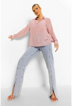 Rose pink Dobby Mesh Long Sleeve Shirt