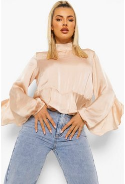 Champagne beige High Neck Frill Edge Blouse