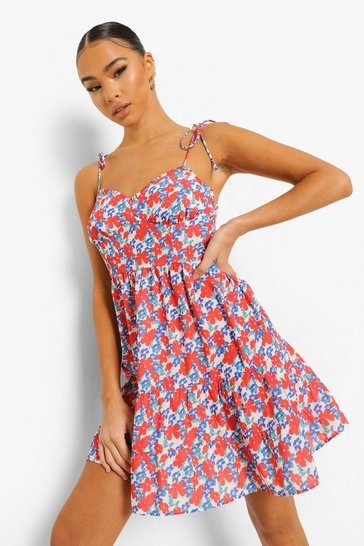 Orange Floral Tie Strap Cami Swing Dress