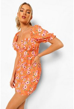 Orange Ditsy Floral Button Front Mini Dress