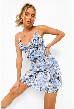 Blue Porcelain Shirred Frill Tiered Mini Dress