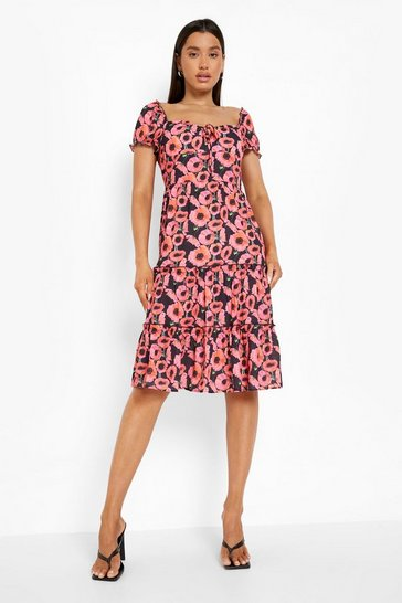 Hot pink pink Floral Print Tiered Midi Dress