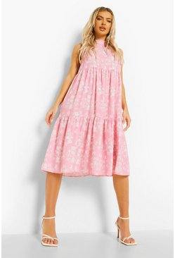 Bright pink pink Floral Tiered Midi Smock Dress