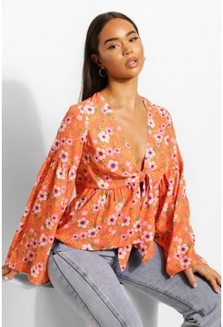 Orange Ditsy Floraltie Front Blouse