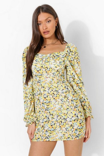 Yellow Floral Puff Sleeve Mini Dress