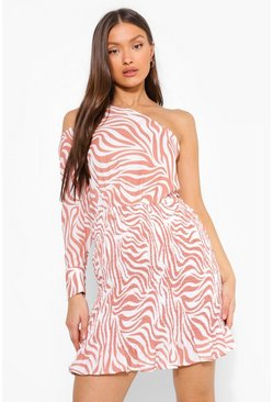 Camel beige Zebra Shirred Asymetric Mini Dress
