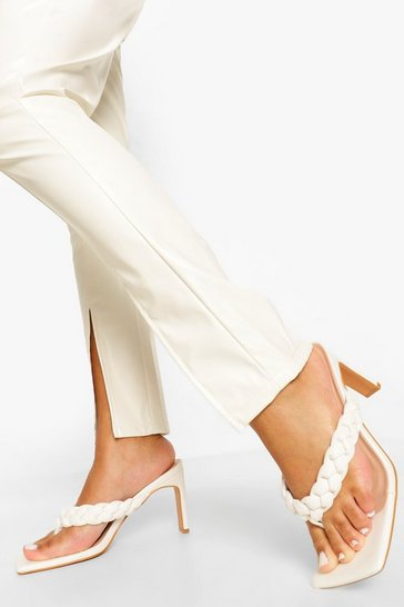 White Square Toe Plaited Toe Post Mule