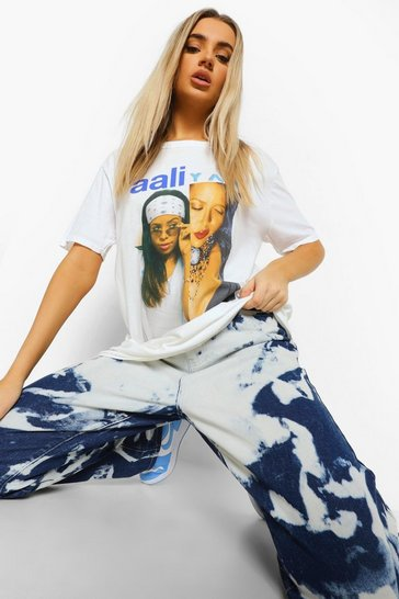 White Aaliyah License Split Print T-shirt