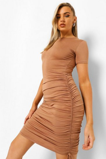 Chocolate brown Ruched Side T-shirt Dress