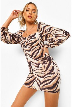 Brown Tiger Print Puff Sleeve Mini Dress