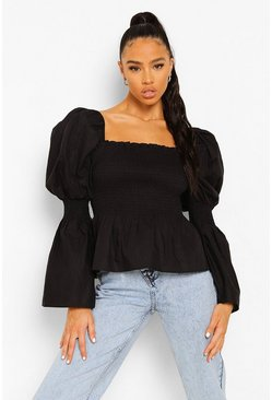 Black Cotton Shirred Bust Puff Sleeve Peplum Top