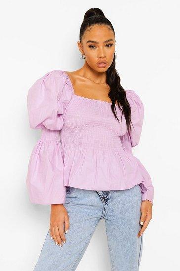 Lilac purple Purple Cotton Shirred Bust Puff Sleeve Peplum Top
