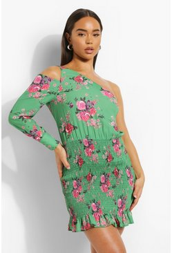 Green Floral Shirred Asymetric Mini Dress