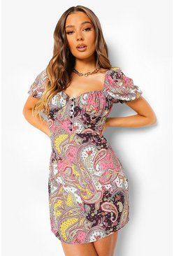 Pink Paisley Puff Sleeve Button Front Mini Dress