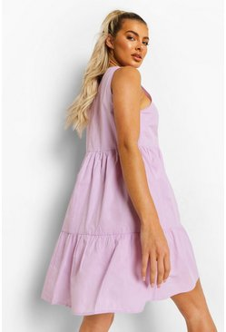 Lilac purple Cotton Tiered Smock Dress