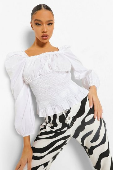 White Cotton Shirred Puff Sleeve Square Neck Top