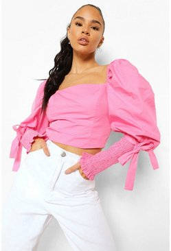 Hot pink Cotton Square Neck Tie Cuff Crop Top