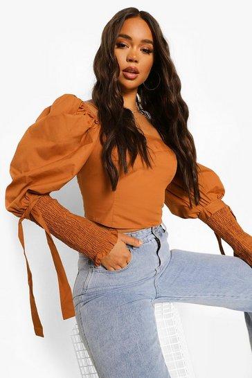 Tan brown Brown Cotton Square Neck Tie Cuff Crop Top