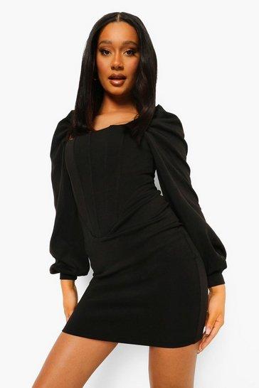 Black Corset Detail Puff Sleeve Mini Dress