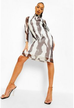 Black Zebra Print High Neck Ruched Midi Dress