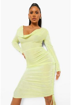 Lime green Textured Slinky Cowl Ruched Midi Dress