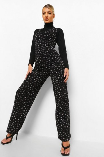 Black Rib Roll Neck Top And Floral Jumpsuit