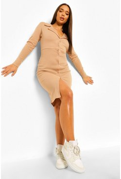 Stone beige Rib Collared Midi Shirt Dress