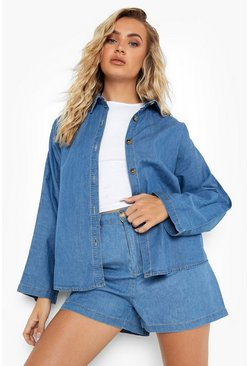 Vintage Wash Oversized Denim Shirt