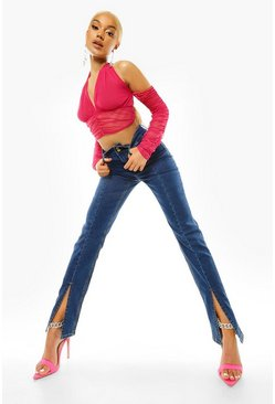 Dark blue blue Front Split Slim Straight Leg Jeans