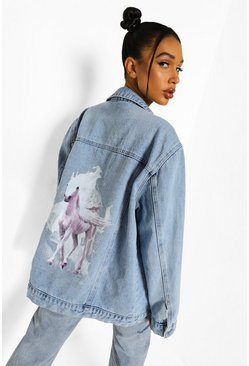 Bleach wash Oversized Unicorn Back Print Denim Jacket