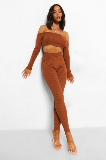 Brown Knitted W Ofcl Slogan Legging Co-ord