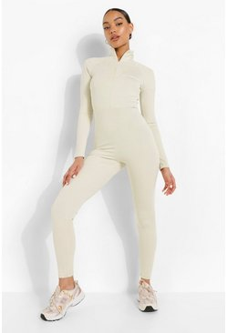 Sage green High Neck Zip W Ofcl Jumpsuit